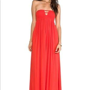Indah Strapless Dress in Orange Papaya xs